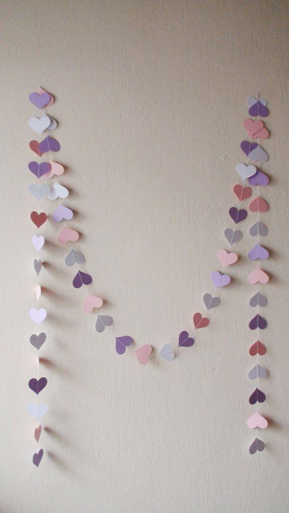 White Pink Lilac heart paper garland  Wedding by HelenKurtidu