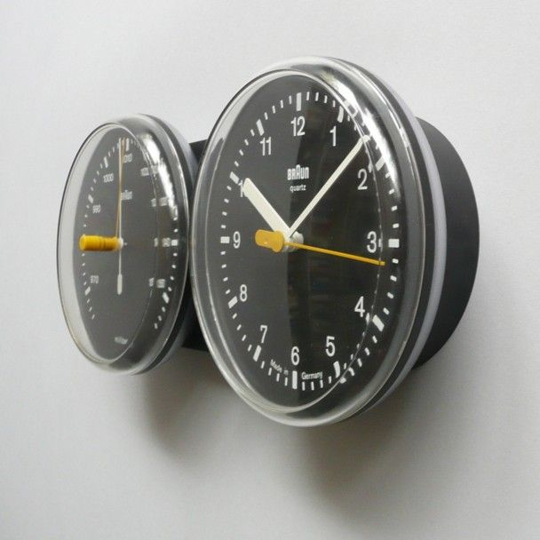 Dieter Rams and Dietrich Lubs; #AB 21 'Domoset' Wall Clock/Barometer for Braun, 1980.