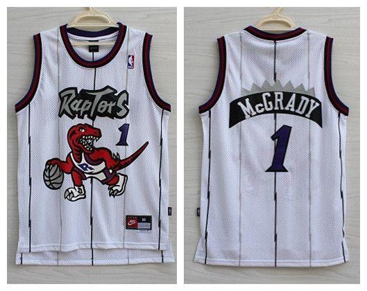 9b68d1651 Men s NBA Toronto Raptors  1 Tracy McGrady White Throwback Jersey ...