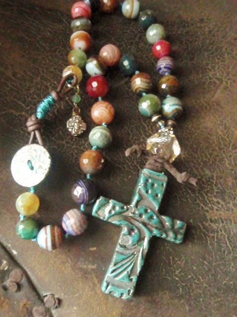 Artisan knotted necklace 'Believe' handmade Raku cross, agate, multi color, teal, leather, abalone, sundance, southwestern boho chic, OOAK. $215.00, via Etsy.