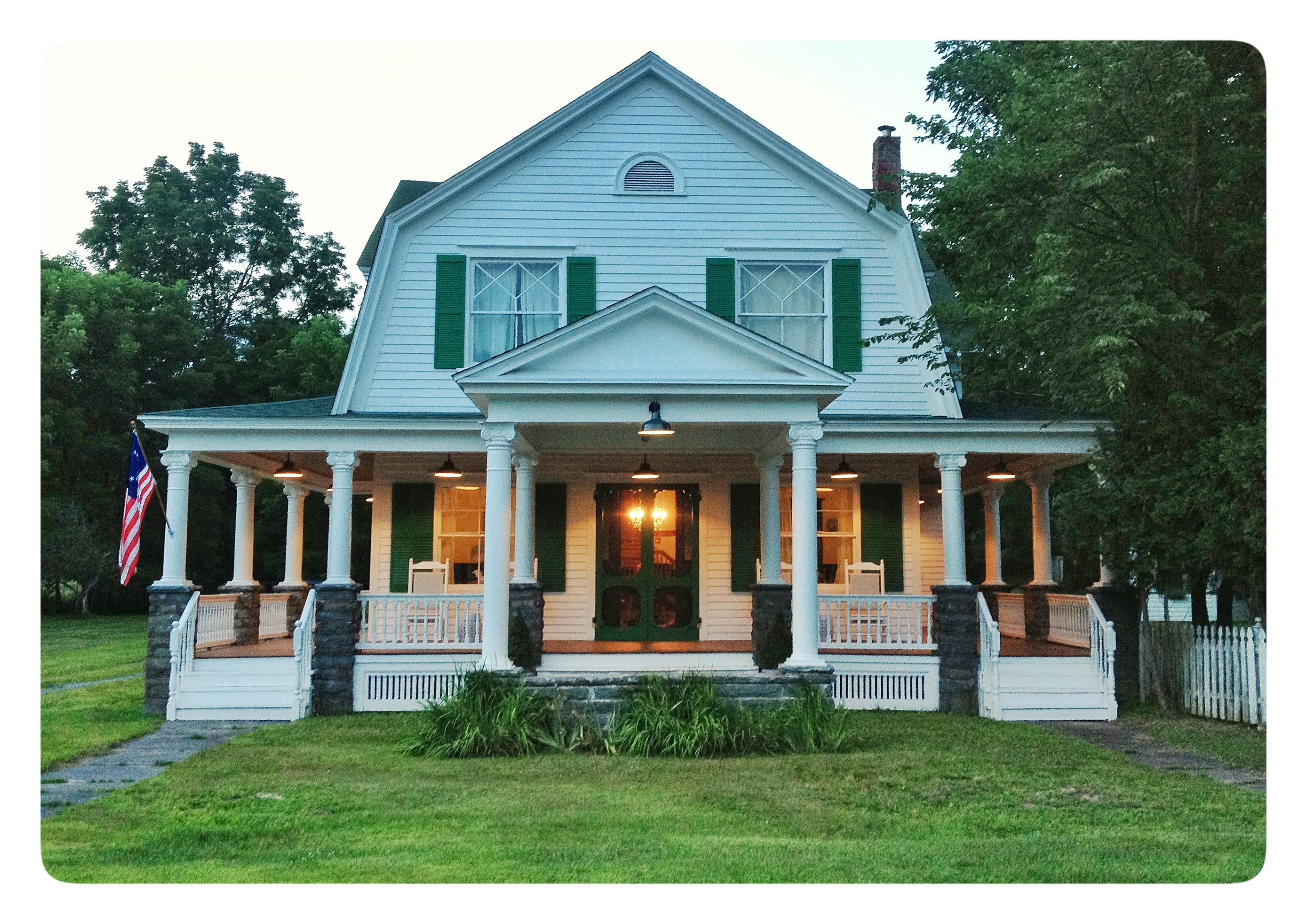 Green Shutters And Doors Oh My Rustic Farmhouse Porch Decorating Porch Lighting