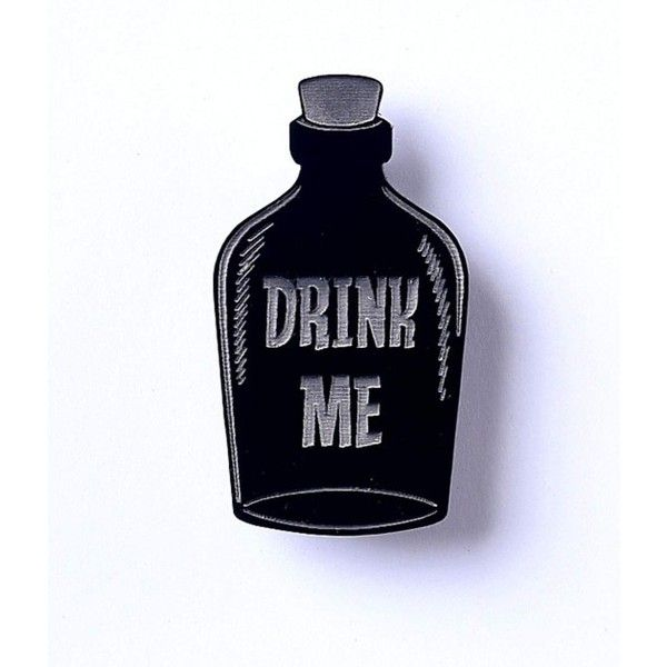 Black Bottle Drink Me Resin Brooch (€17) ❤ liked on Polyvore featuring jewelry, brooches, retro jewelry, pin jewelry, pin brooch, charm jewelry and resin charms