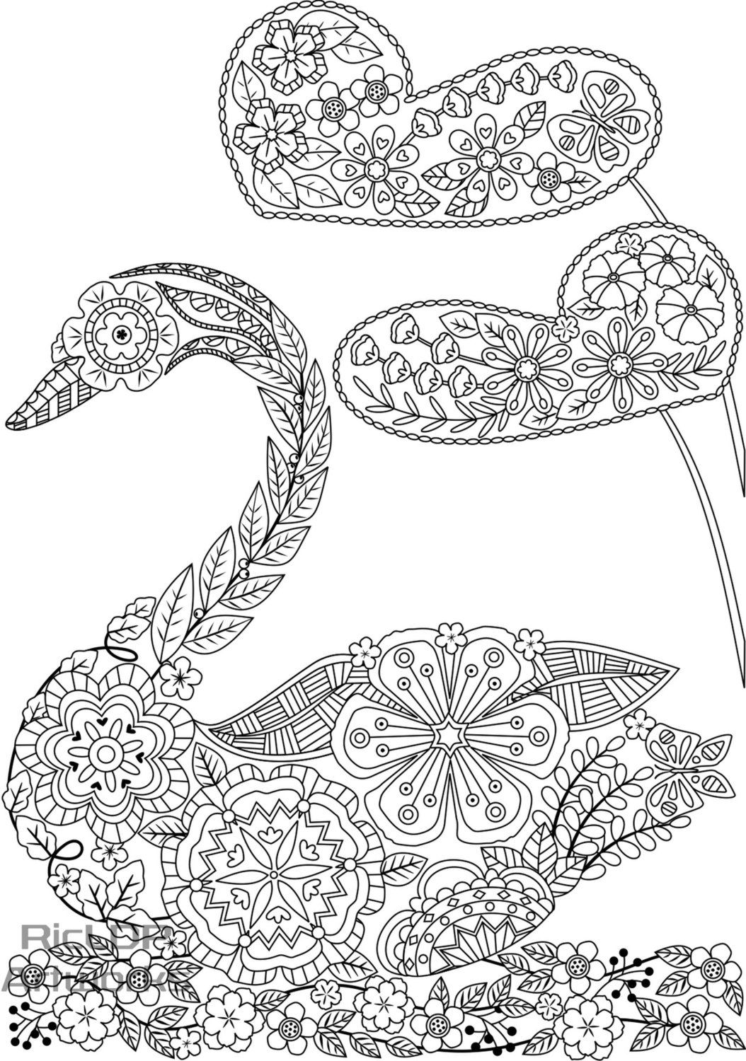 Three uniquely shaped coloring pages swanshaped butterfly