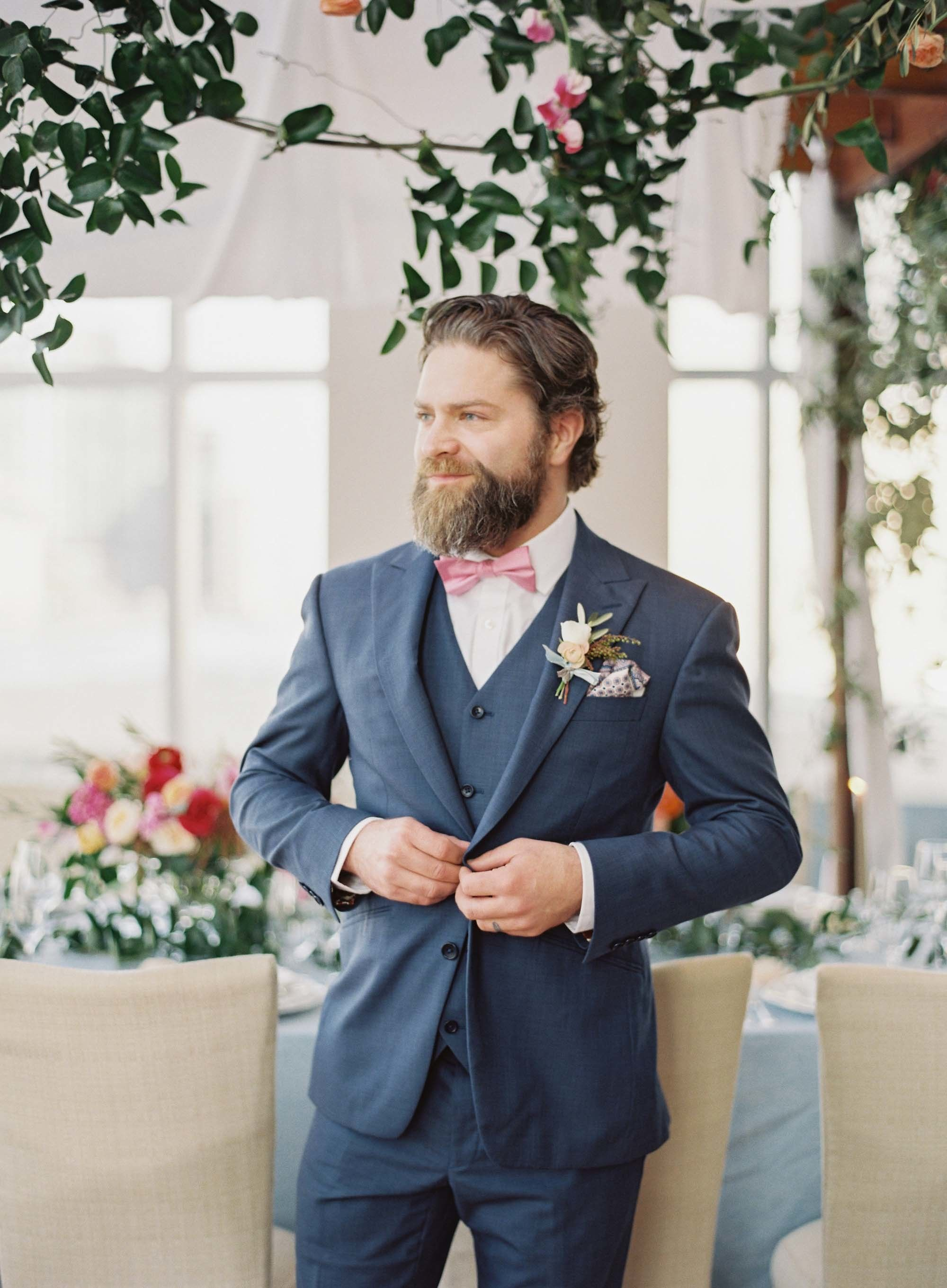 Inspired By The Beauty Of Bright Spring Florals Black Suit Wedding Pink Bow Tie Bow Tie Suit