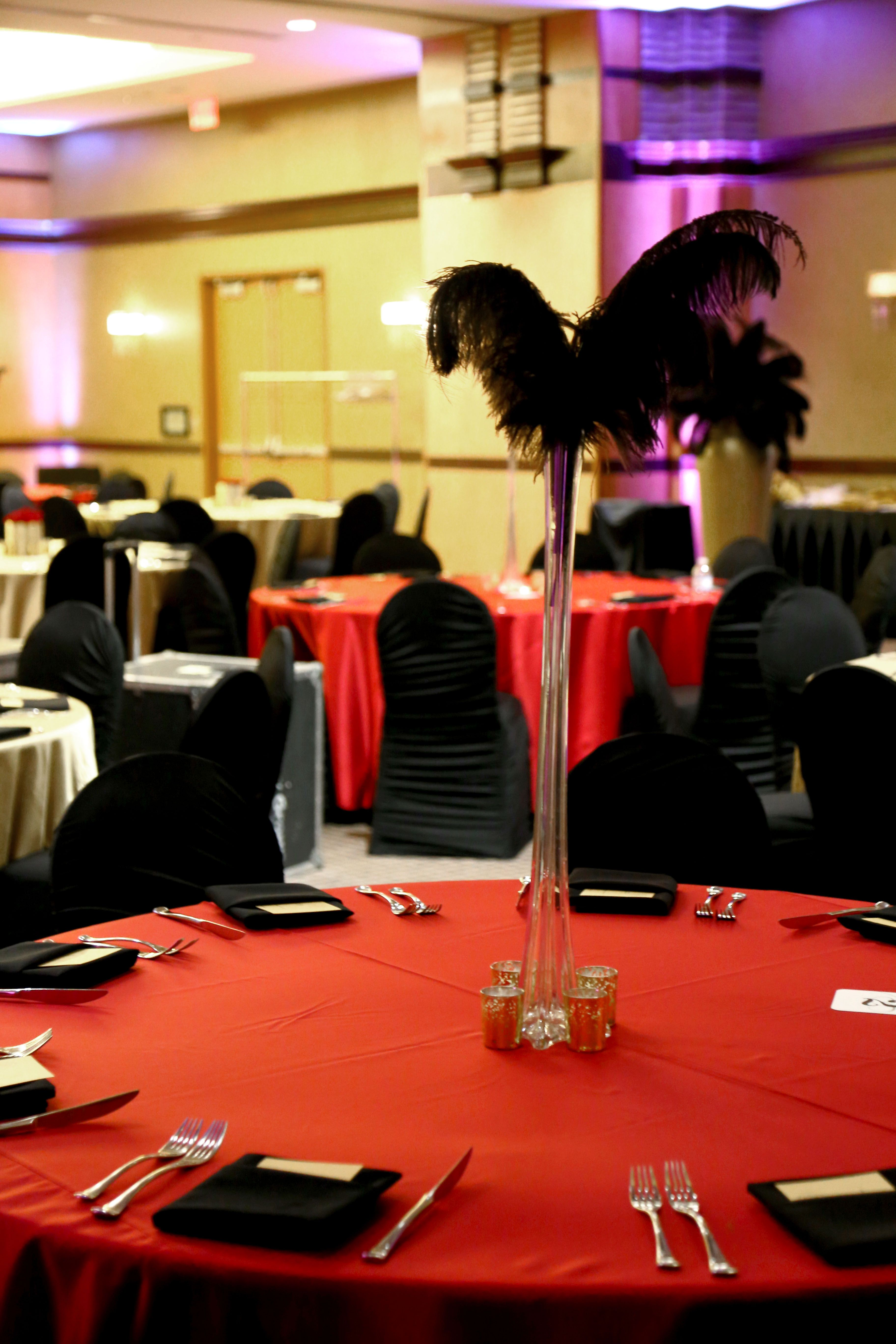 Fluted and feathery centerpiece event professionals