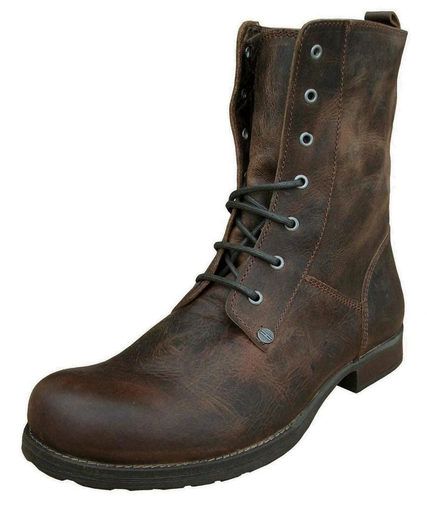 henleys boots homme style militaire en cuir marron vintage tout temps chaussures. Black Bedroom Furniture Sets. Home Design Ideas