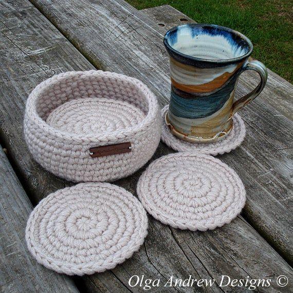Beige crochet coasters with holder office coaster set coffee | Etsy – Crochet
