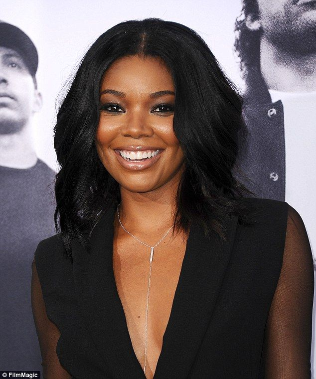 Gabrielle Union Sizzles In Plunging See Through Black Dress Nude