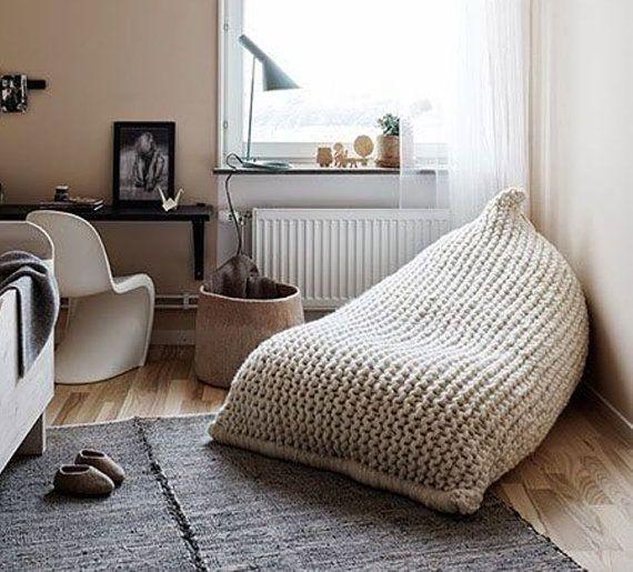Chunky Merino Wool Grey Knit Teen Adult Bean Bag Gray