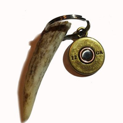 Deer antler 12 gauge shotgun shell key chain