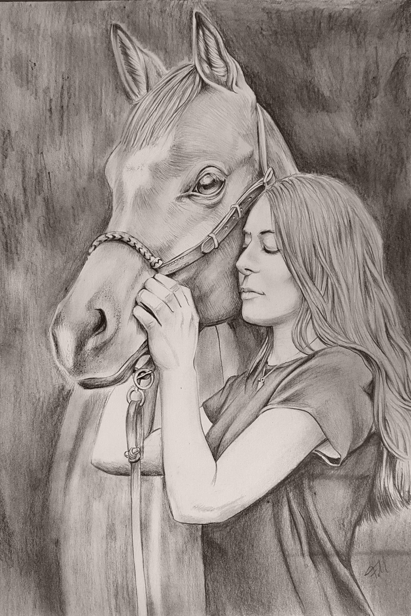 wundervolle zeichnung von pferd und mädchen bei