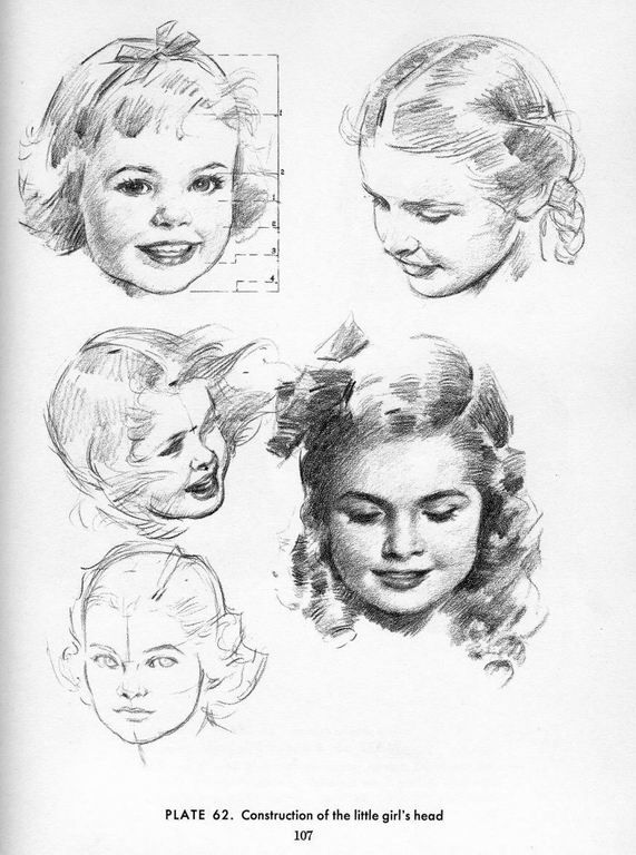 drawing reference. construction of the little girl's head