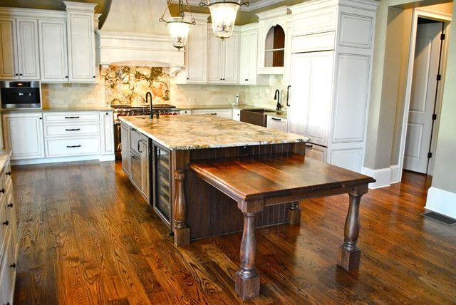Kitchen Island With Connected Dining Table Kitchen Design Mediterranean Kitchen Design Kitchen Island Table Combination
