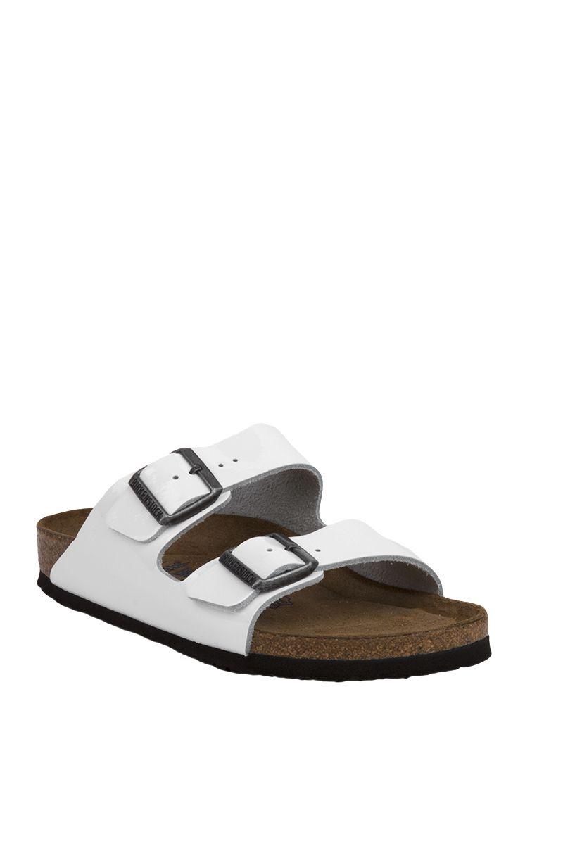 0af6c200776 Birkenstock Arizona Soft Footbed Bright White Patent Leather Sandals  feature gun metal hardware