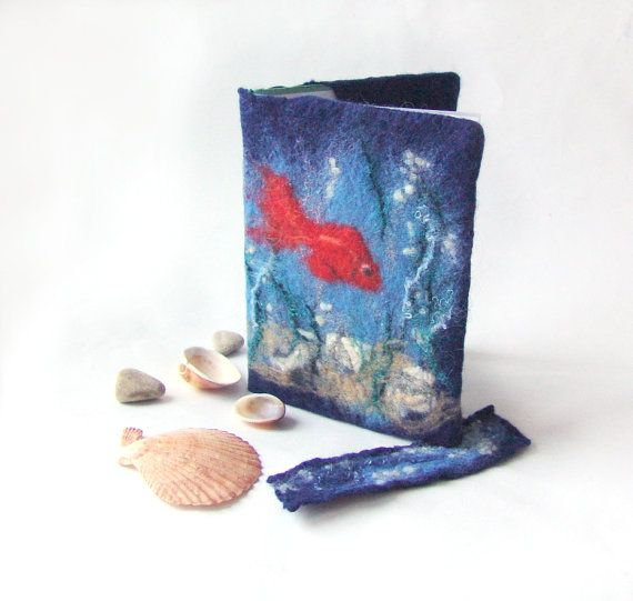 Felted journal notebook cover Blue red fish sea #felt #cover #book #sea #fish #blue $24.00