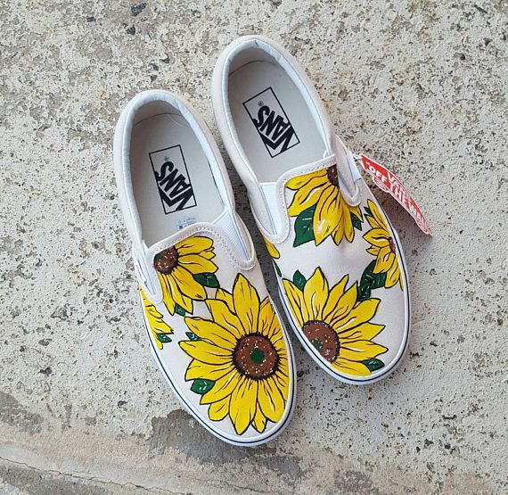 Custom Sunflower Vans Slip On Shoes | Handbemalte schuhe