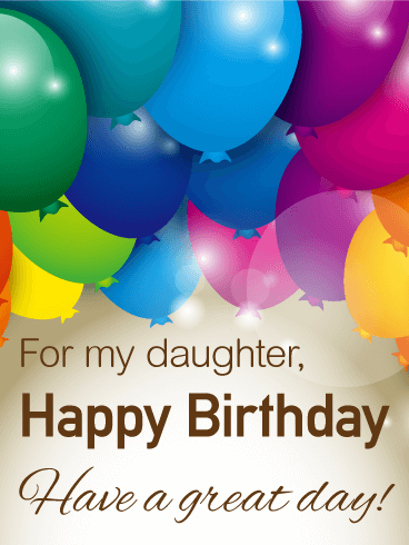 Rainbow Color Birthday Balloon Card For Daughter A Of Balloons Will Brighten Your Daughters In An Instantand The Message Remind