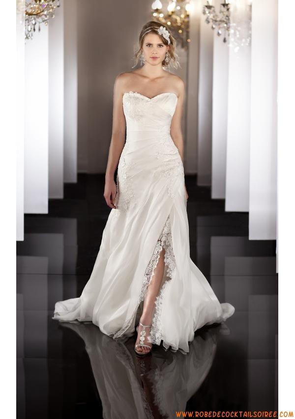 Robe de mariée originale 2013 simple A,line appliques dentelle organza