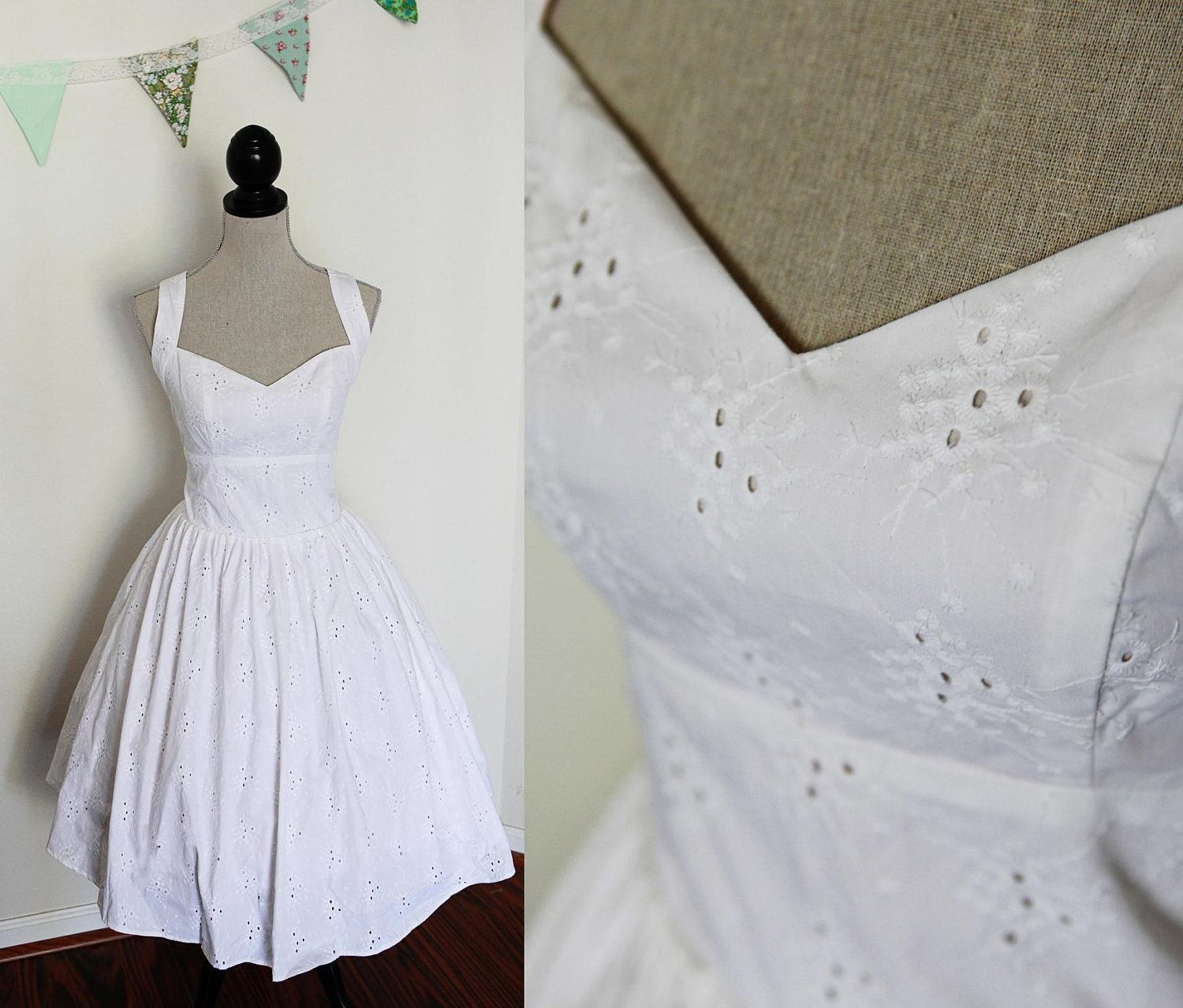 Tea length wedding dress cotton eyelet lace fabric size large