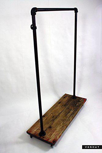Vorhut Macclesfield Tallboy Custom Vintage Industrial Scaffold Board Clothes Rail /& Shoe Rack with Top Shelf