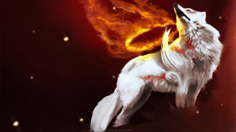 Cool White Wild Werewolf In Fire Sky Animal Desktop Wallpapers