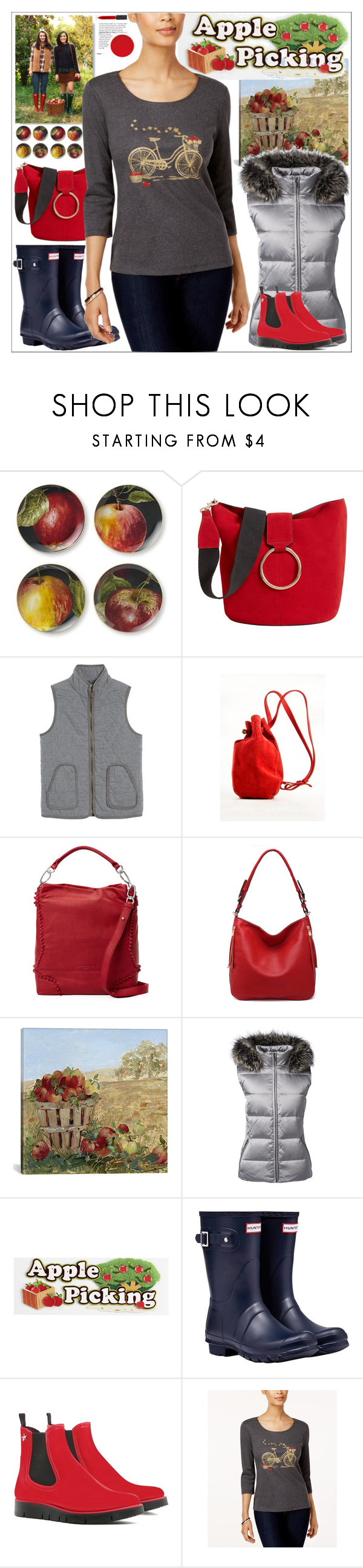 """""""Harvest Time: Apple Picking"""" by yours-styling-best-friend ❤ liked on Polyvore featuring Williams-Sonoma, Caslon, Meraki, Liebeskind, MKF Collection, iCanvas, Lands' End, Hunter, RED Valentino and Karen Scott"""