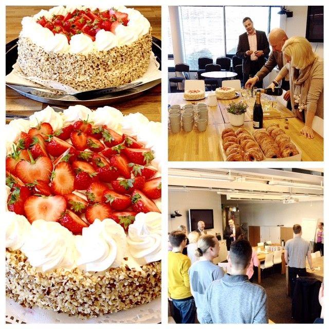 Maanantaiaamusta mansikkakakkua ja shampanjaa! Toimitusjohtajamme Iiro täyttää tänään 50v.