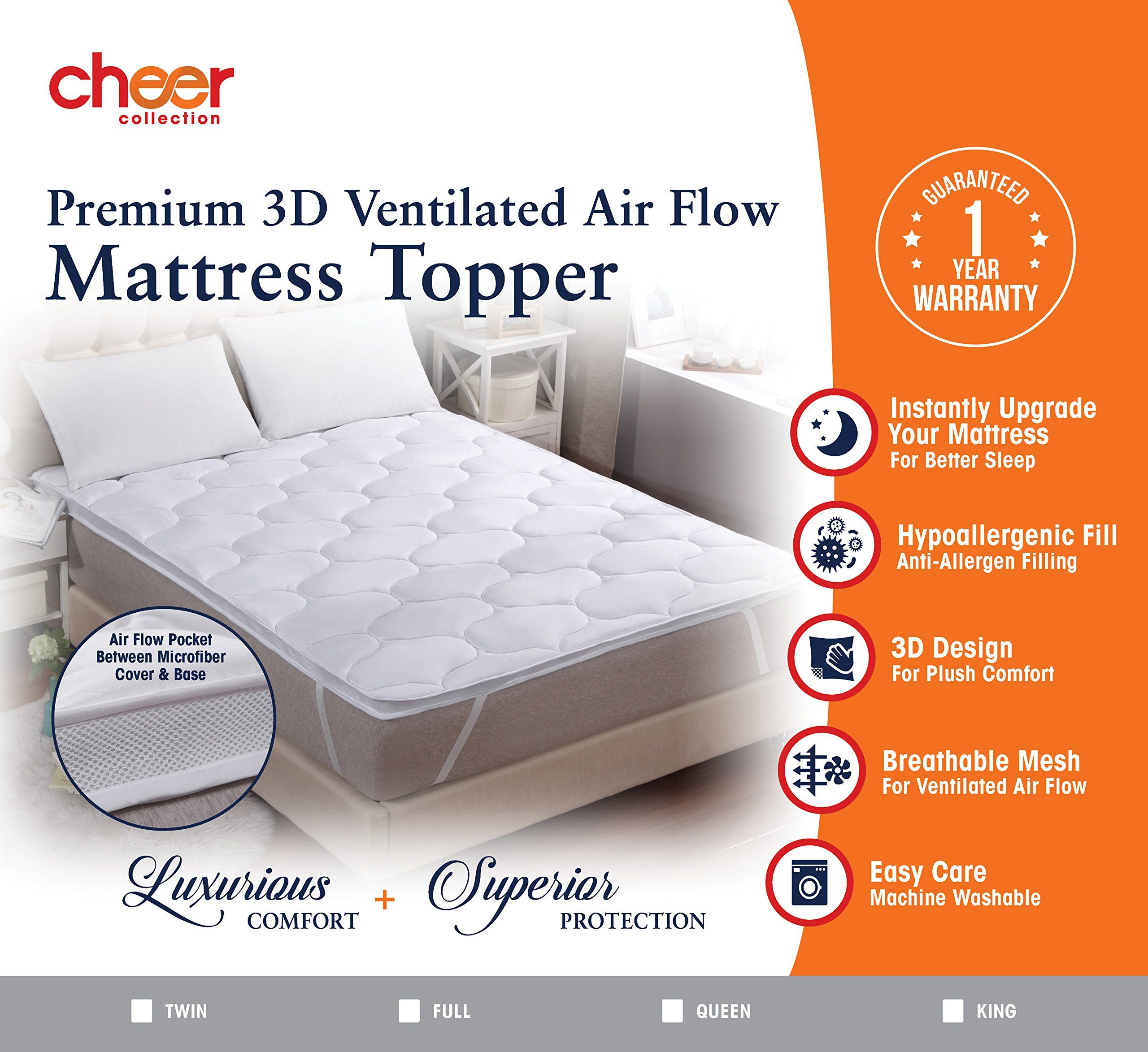 Cheer Collection 3d Air Mattress Topper Queen Size Breathable