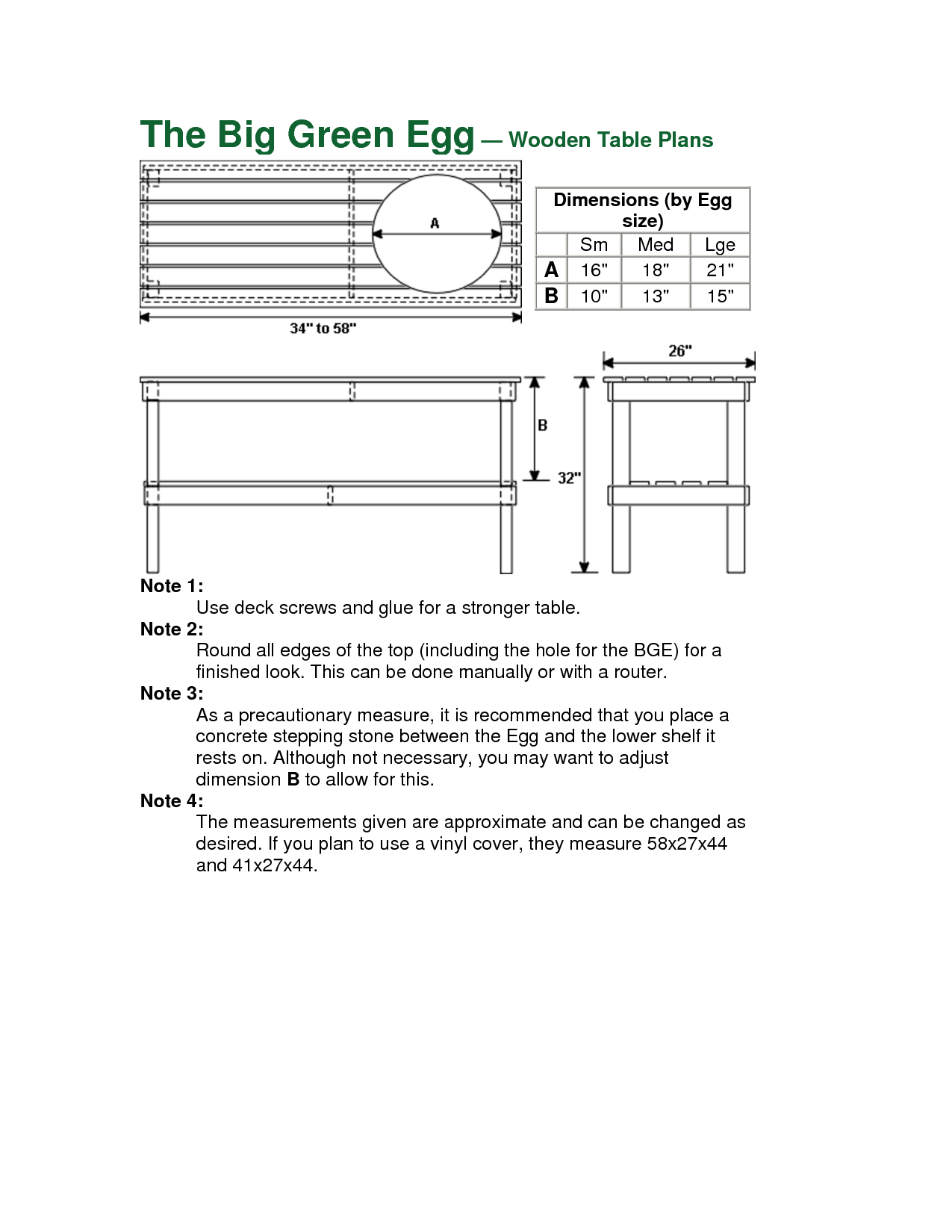 Big green egg table blueprints for Blueprint plan table