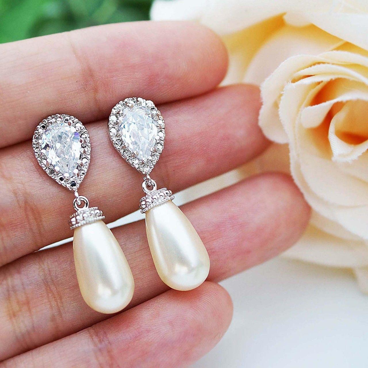 e582e1af5 Swarovski Tear drop pearls Bridal Earrings | September 2016 ...