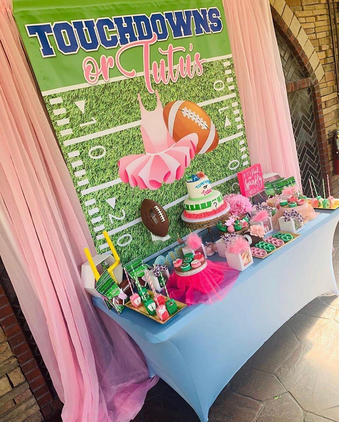 Woo Em On Instagram Touchdowns Or Tutus Gender Reveal Kandk Sweetevents Inquiri Tutus Gender Reveal Gender Reveal Party Theme Gender Reveal Party Games