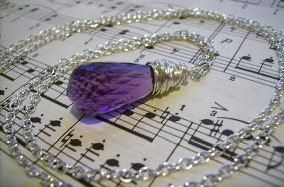 22.5ct Amethyst Briolette Tear Drop Silver Necklace $20.00
