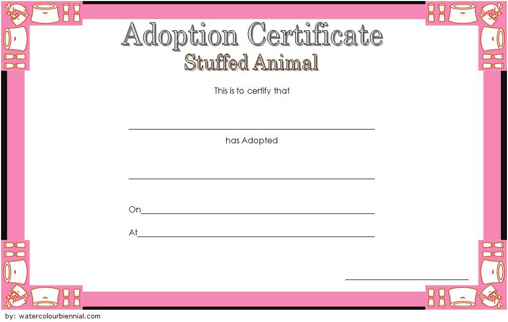 Stuffed Animal Adoption Certificate Template Free Adoption