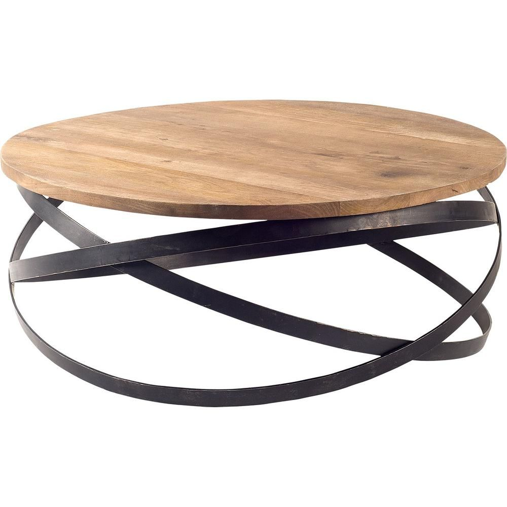 Mercana Triumph 40 In Brown Medium Round Wood Coffee Table 67108 The Home Depot Coffee Table Wood Round Metal Coffee Table Welding Table [ 1000 x 1000 Pixel ]