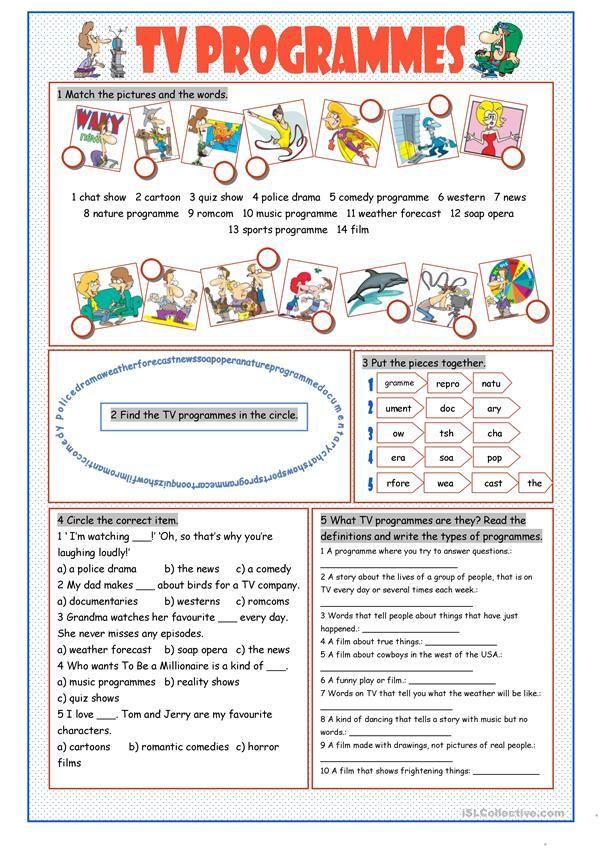 TV Programmes Vocabulary Exercises (con imágenes) Cosas
