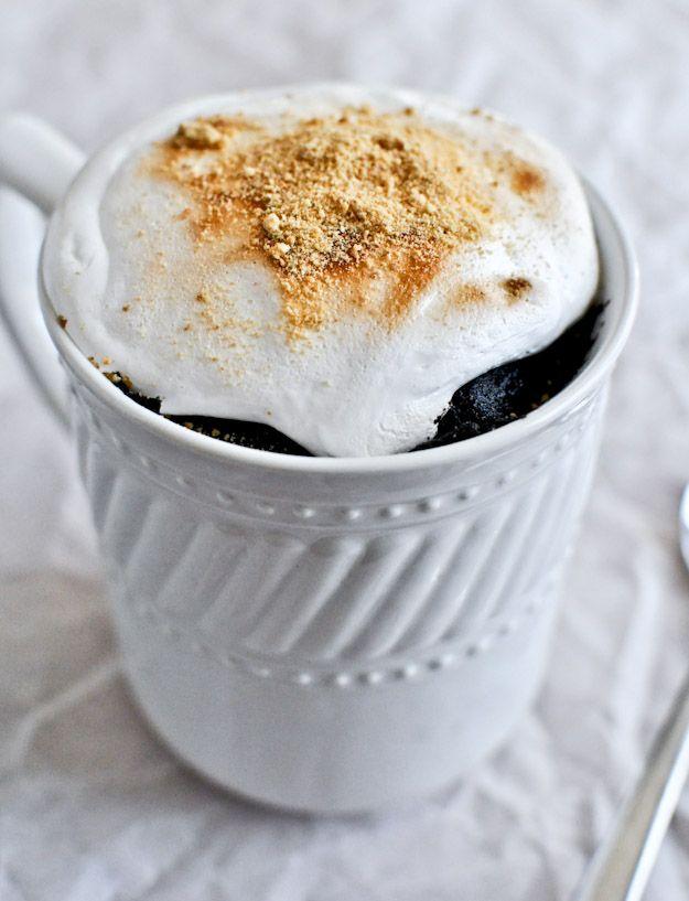 5 Minute Chocolate Fudge S'mores Mug Cake