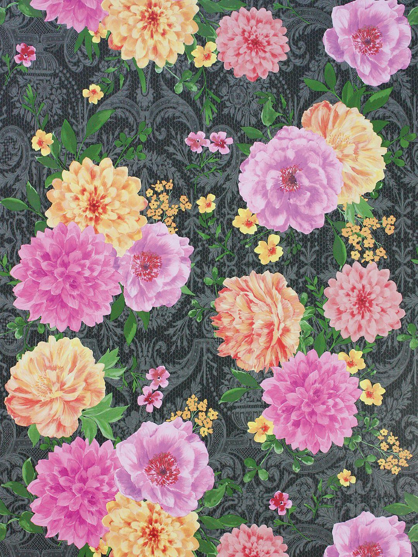 Matthew Williamson Duchess Garden Wallpaper, Ink/Pink
