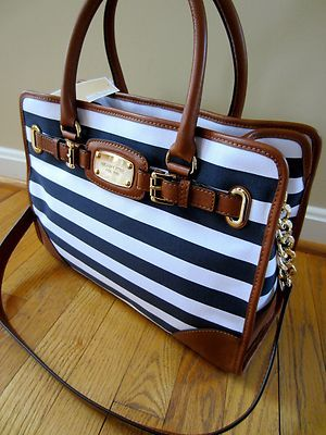 c49a811f0426 Michael Kors Hamilton Navy Blue White Striped Leather Trim EW Tote Handbag  --Michael kors purses For Gift.