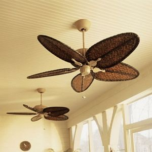 The Belleria Tropical Ceiling Fan In Latte With All Weather