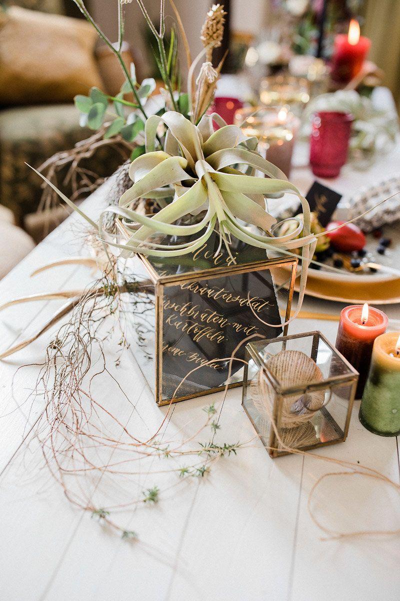Tischdekoration Fur Boho Hochzeit Mit Pampasgras Und Sukkulenten