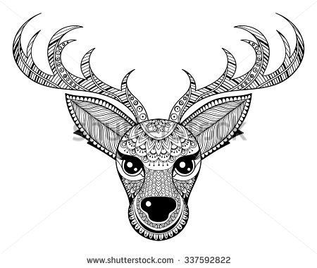 Deer Coloring Pages for Adults Zentangle vector Reindeer for