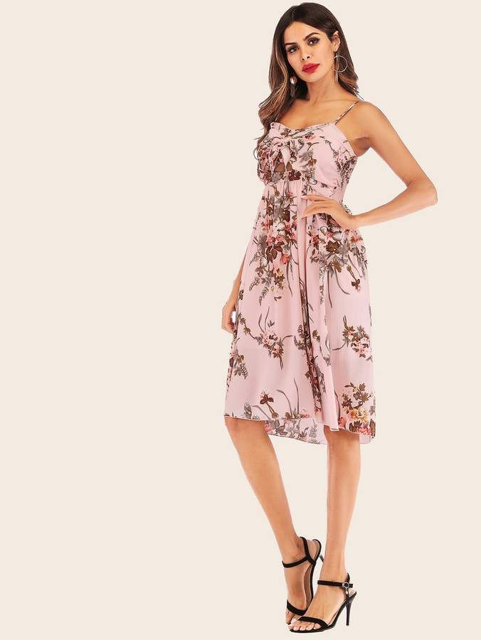 b2e877fd60 Shein Floral Print Cut Out Tie Front Cami Dress | Products | Pinterest