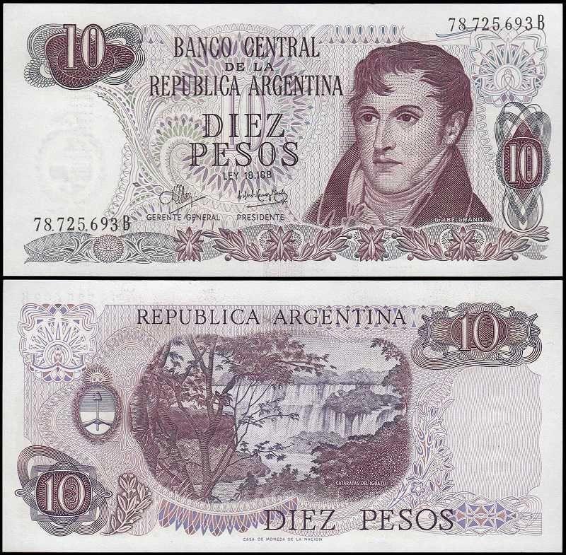 Argentina 10 Pesos, 1970, 289