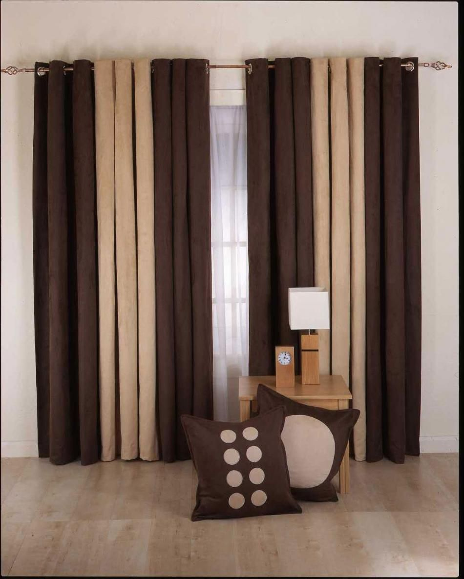 Curtain designs for living room brown cream 950 for Curtains in living room