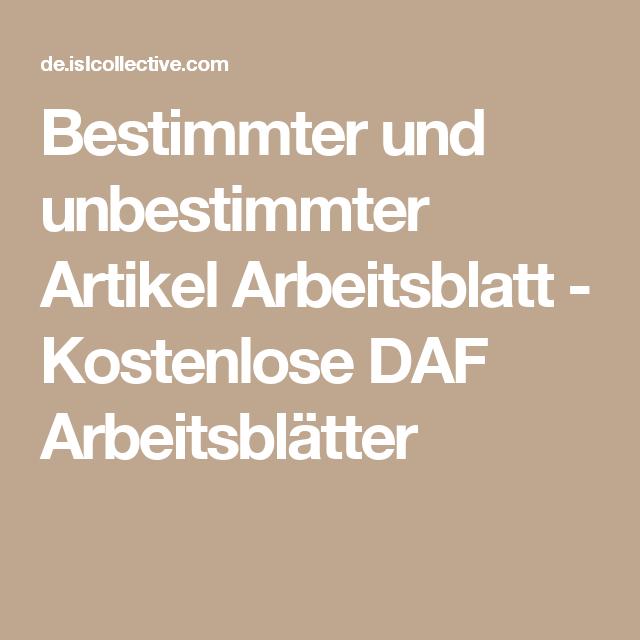 Bestimmter und unbestimmter Artikel | Pinterest | Arbeitsblätter ...