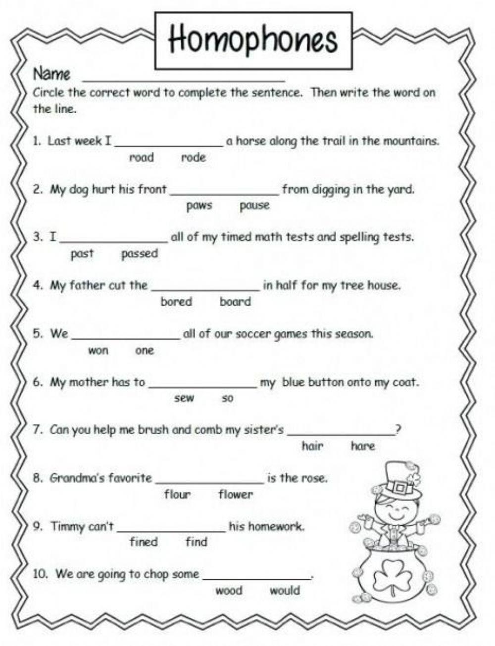 Homophones Worksheet 4th Grade Homophones Worksheet 2nd Grade Worksheets Homophones Worksheets 2nd Grade Grammar