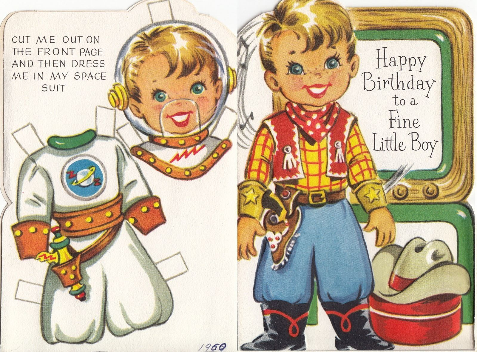 Cowboy Astronaut Space 1960s Paper Doll