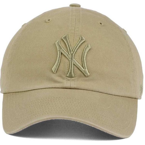 New York Yankees '47 MLB Khaki '47 CLEAN UP Cap (€23) ❤ liked on Polyvore  featuring accessories, hats, cap hats, mlb caps, new york yankees hat, ma…