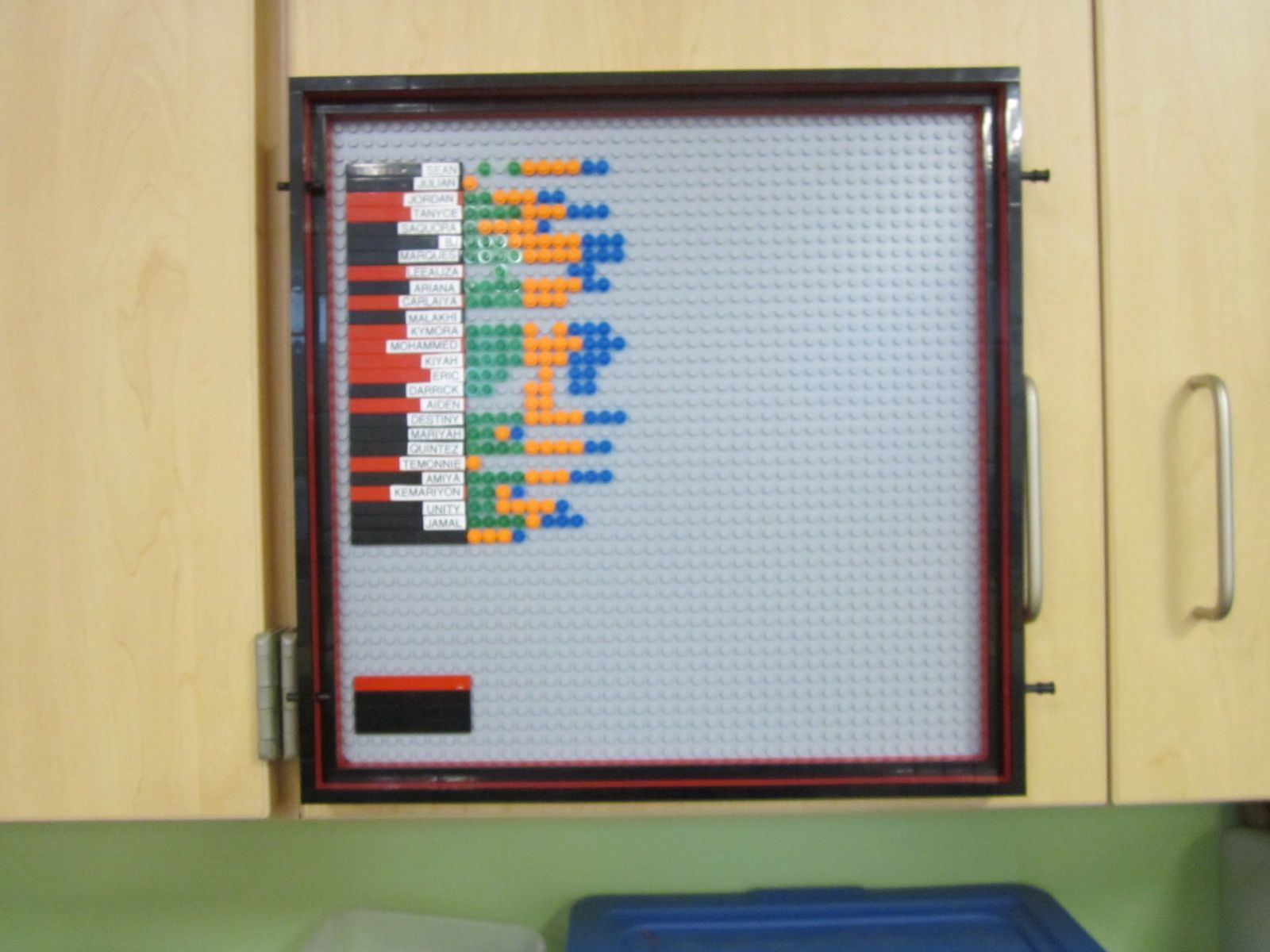 Homework chart is attached with Velcro Command Strips to the cabinet.