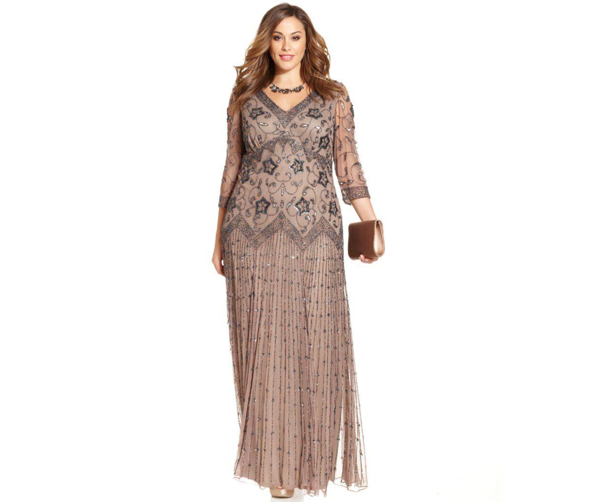Pisarro Nights Plus Size Three-Quarter-Sleeve Beaded Gown - Dresses ...